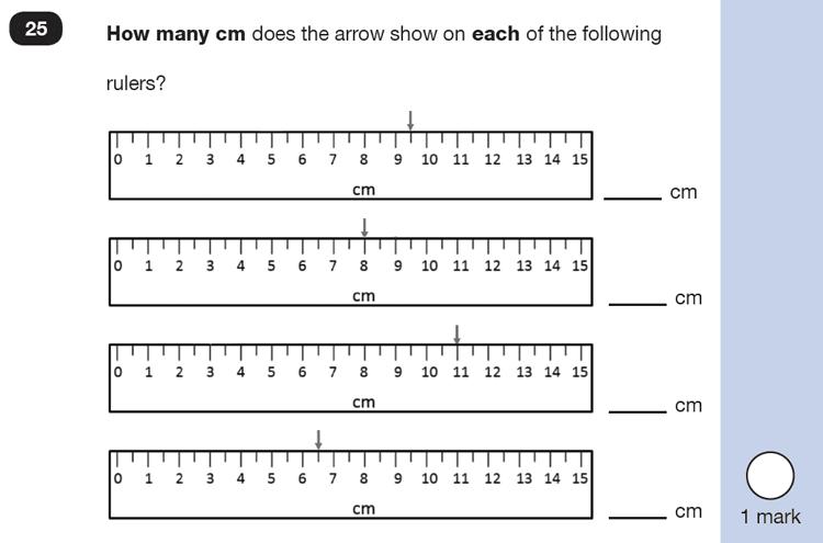 Question 25 Maths KS1 SATs Practice Paper 4 - Reasoning Part B, Measurement, Ruler Measurement, Scale reading