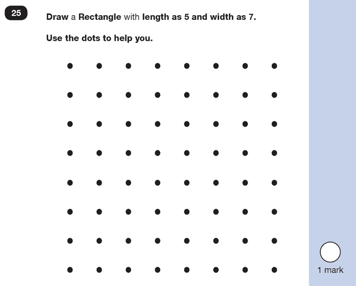 Question 25 Maths KS1 SATs Practice Paper 6 - Reasoning Part B, Geometry, Draw Shapes, 2D shapes
