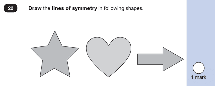 Question 26 Maths KS1 SATs Test Paper 3 - Reasoning Part B, Geometry, Lines of symmetry