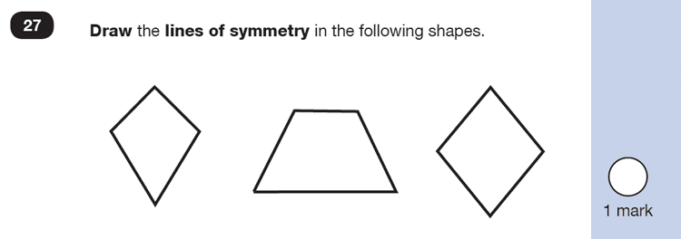 Question 27 Maths KS1 SATs Exam Paper 4 - Reasoning Part B, Geometry, Lines of symmetry