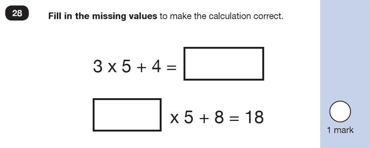 Question 28 Maths KS1 SATs Past Paper 6 - Reasoning Part B, Calculations, Addition, Multiplication, Missing digits, Measurement, Estimate