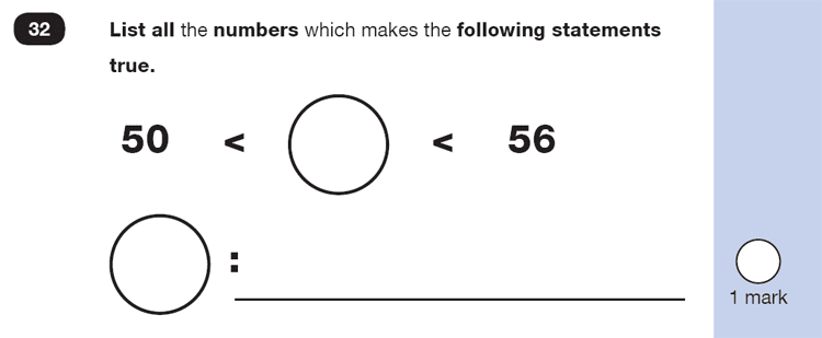 Question 32 Maths KS1 SATs Exam Paper 1 - Reasoning Part B, Numbers, Order and Compare