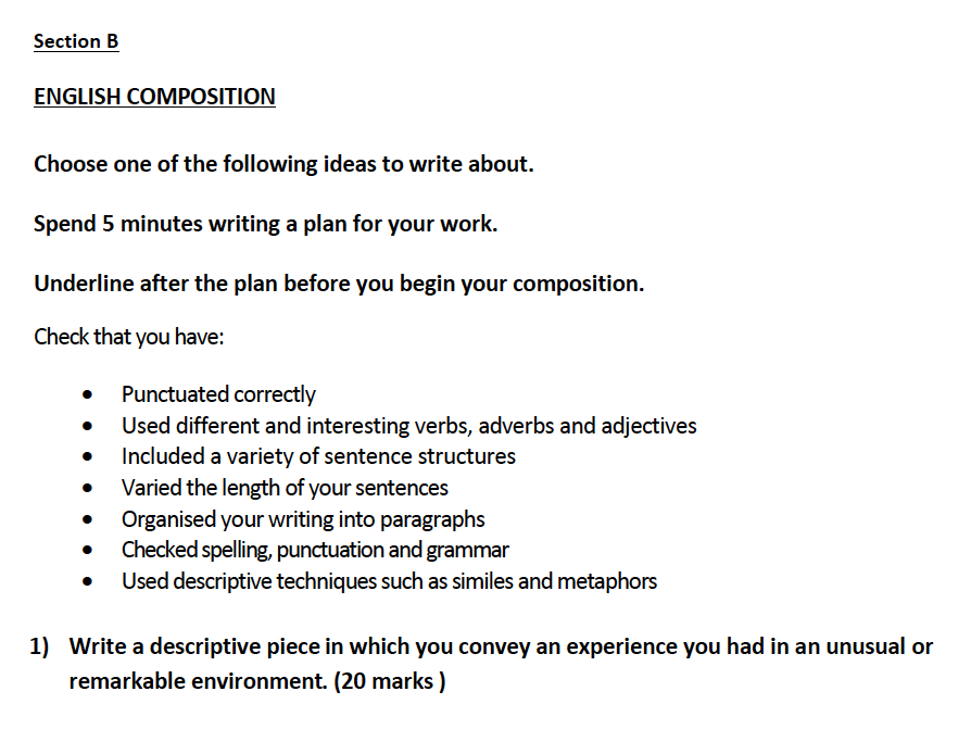 Aldenham School - 13 Plus English Sample Paper 2017 Creative Writing Question 01