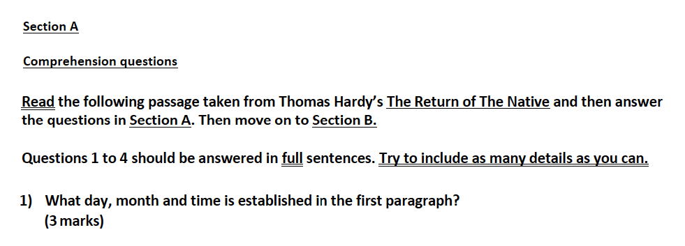 Aldenham School - 13 Plus English Sample Paper 2017 Question 01