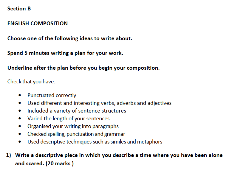 Aldenham School - 13 Plus English Sample Paper 2019 Creative Writing Question 01