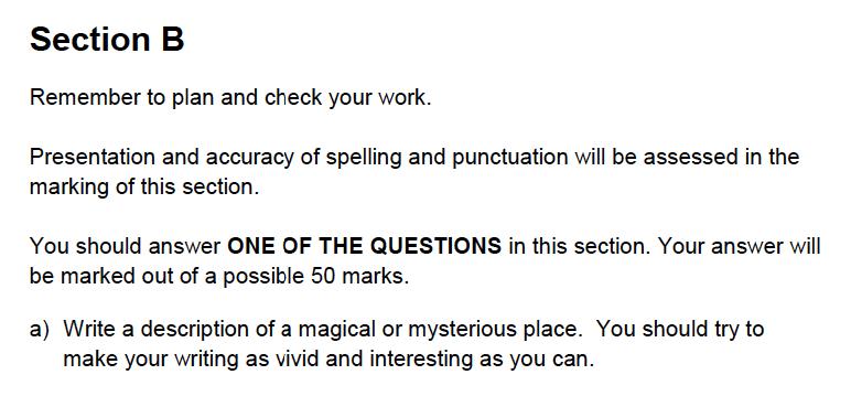 Alleyns School - 13 Plus English Sample Exam Paper 2 Creative Writing Question 01