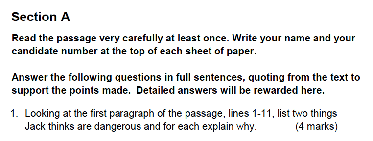 Alleyns School - 13 Plus English Sample Exam Paper 2 Question 01