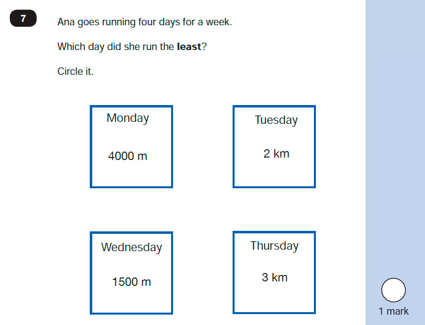 Maths KS1 SATs SET 10 - Paper 2 Reasoning Question-07, Numbers, Order and Compare, Measurement, Units of Measurement