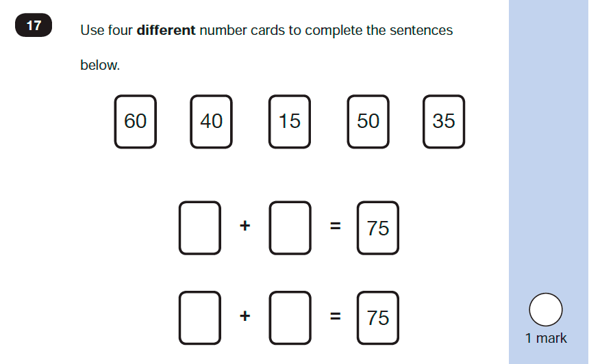 Maths KS1 SATs SET 10 - Paper 2 Reasoning Question-17, Calculations, Addition, Logical problems