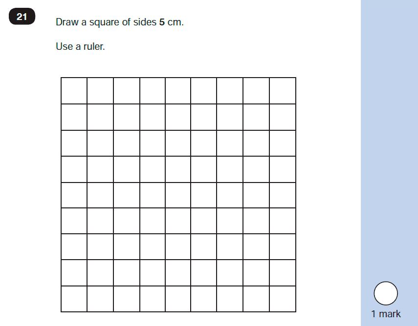 Maths KS1 SATs SET 10 - Paper 2 Reasoning Question-21, Geometry, Draw Shapes, 2D shapes, Measurement, Ruler Measurement