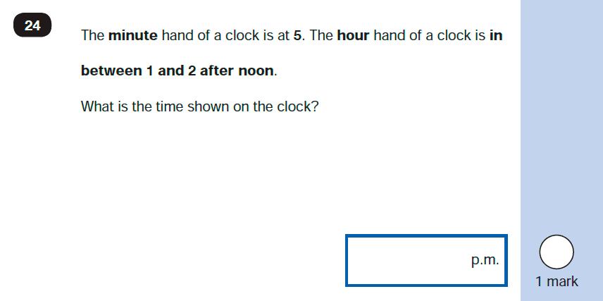 Maths KS1 SATs SET 10 - Paper 2 Reasoning Question-24, Measurement, Time