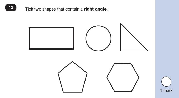 Maths KS1 SATs SET 7 - Paper 2 Reasoning Question 12, Geometry, Properties of shapes, 2D shapes