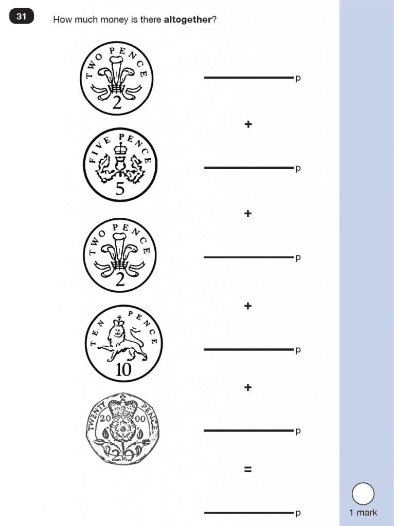 Maths KS1 SATs SET 8 - Paper 2 Reasoning Question 31, Calculations, Addition, Measurement, Money