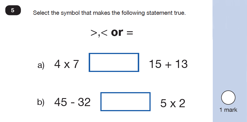 Maths KS1 SATs SET 9 - Paper 2 Reasoning Question 05, Calculations, Addition, Multiplication, Subtraction, Numbers, Order and Compare
