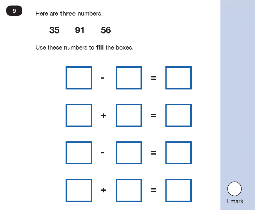 Maths KS1 SATs SET 9 - Paper 2 Reasoning Question 09, Calculations, Addition, Subtraction, Logical problems