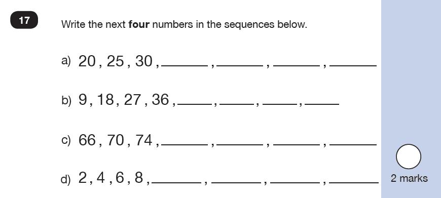 Maths KS1 SATs SET 9 - Paper 2 Reasoning Question 17, Numbers, Counting forward
