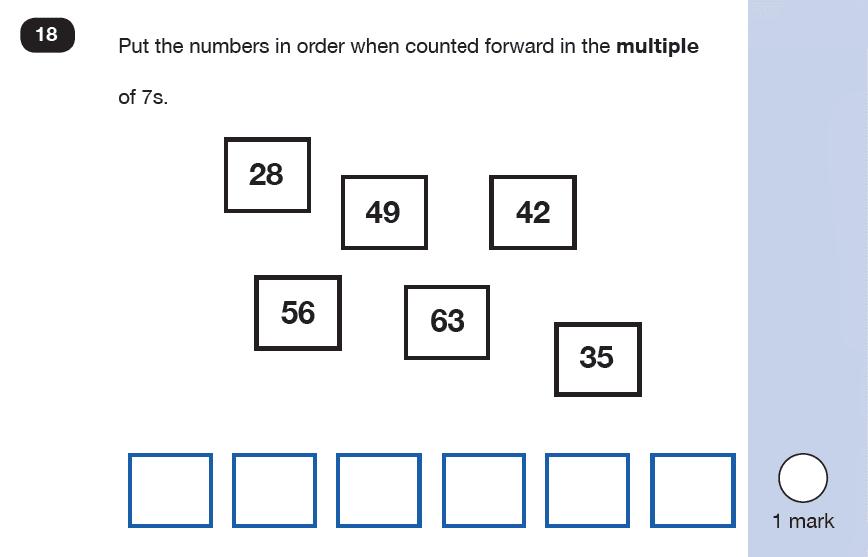Maths KS1 SATs SET 9 - Paper 2 Reasoning Question 18, Numbers, Counting forward