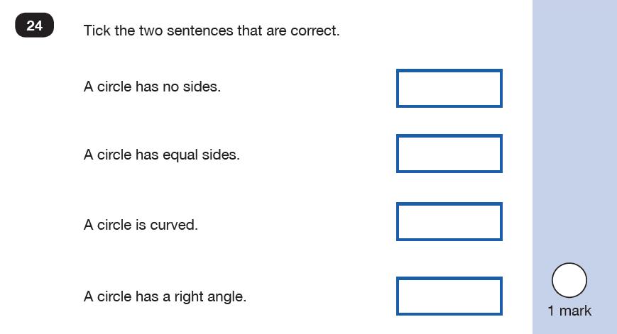 Maths KS1 SATs SET 9 - Paper 2 Reasoning Question 24, Geometry, 2D shapes, Properties of shapes