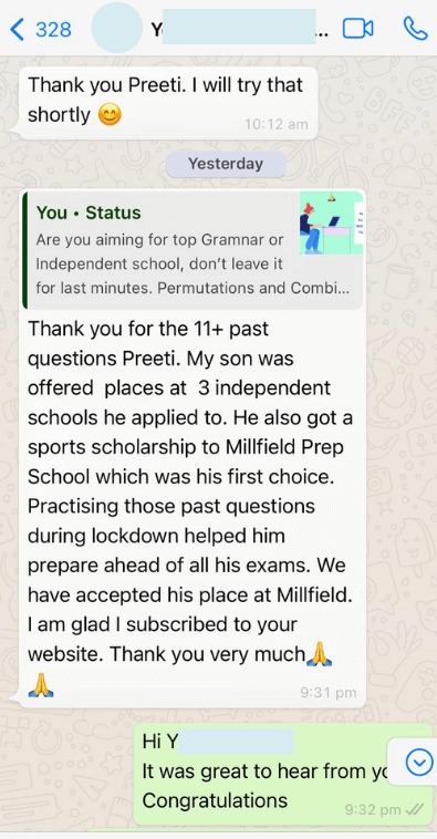 Testimonial - Whatsapp review 3 on 11 Plus Past Papers