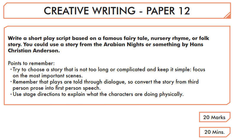 English Creative Writing Paper 12 - Question 01