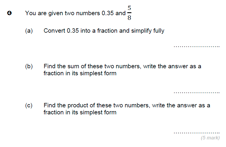 Brentwood school - 11 Plus Maths Sample Paper Question 04