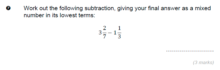 Brentwood school - 11 Plus Maths Sample Paper Question 07