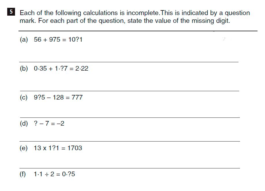 CSSE Familiarisation Maths paper Question 05
