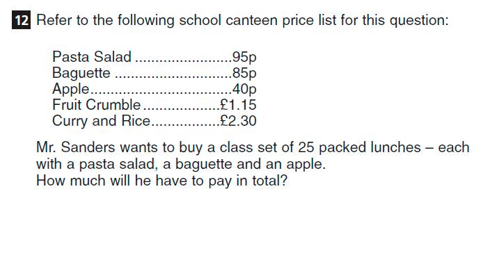 CSSE Familiarisation Maths paper Question 12