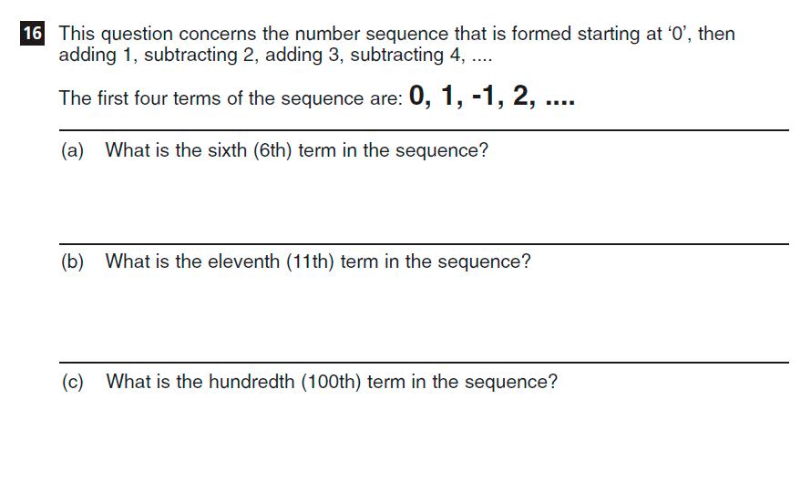 CSSE Familiarisation Maths paper Question 16