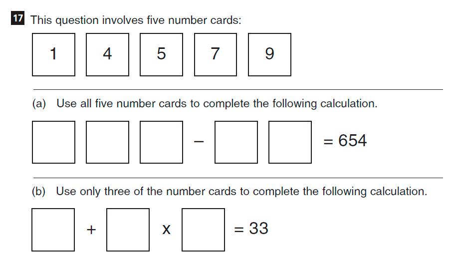 CSSE Familiarisation Maths paper Question 17