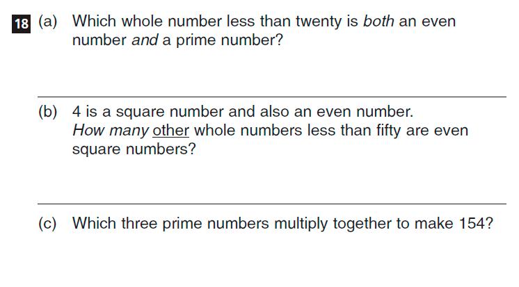CSSE Familiarisation Maths paper Question 18