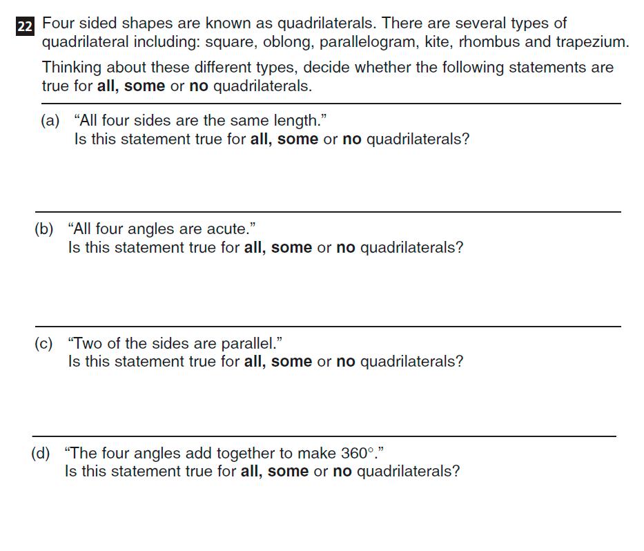 CSSE Familiarisation Maths paper Question 22