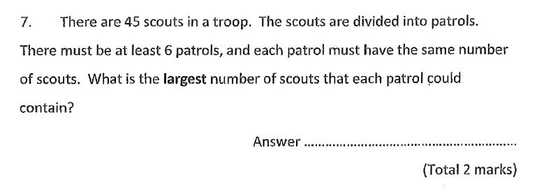 Chigwell School - 11 Plus Maths Specimen Paper 2020 entry Question 07