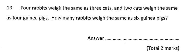 Chigwell School - 11 Plus Maths Specimen Paper 2020 entry Question 13