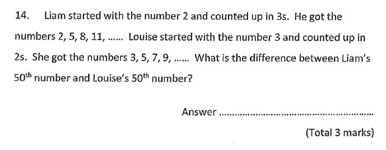 Chigwell School - 11 Plus Maths Specimen Paper 2020 entry Question 14