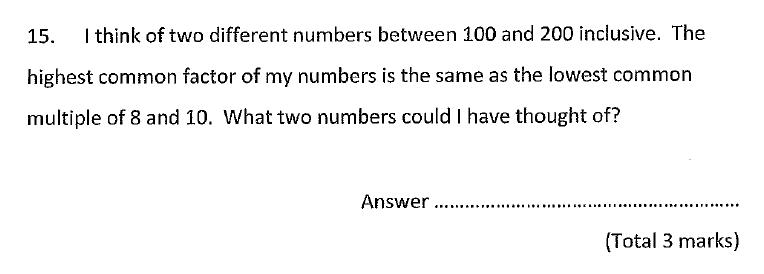 Chigwell School - 11 Plus Maths Specimen Paper 2020 entry Question 15