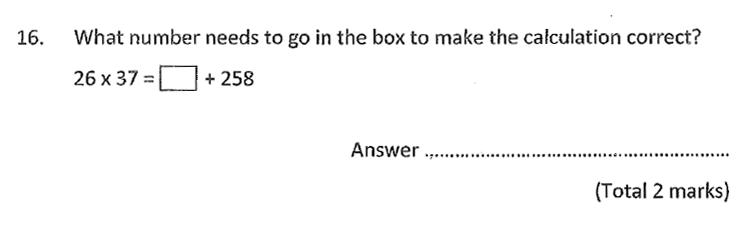 Chigwell School - 11 Plus Maths Specimen Paper 2020 entry Question 16