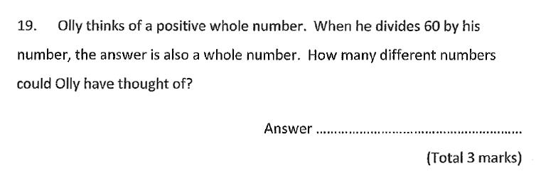 Chigwell School - 11 Plus Maths Specimen Paper 2020 entry Question 19