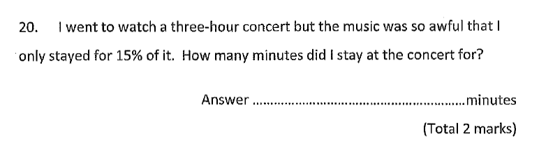 Chigwell School - 11 Plus Maths Specimen Paper 2020 entry Question 20
