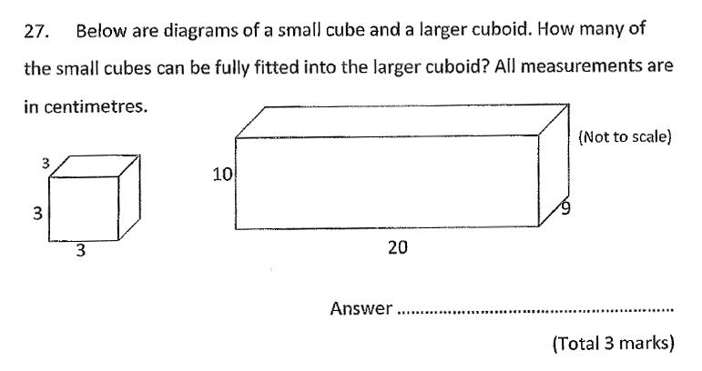 Chigwell School - 11 Plus Maths Specimen Paper 2020 entry Question 27
