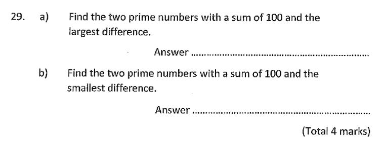 Chigwell School - 11 Plus Maths Specimen Paper 2020 entry Question 29