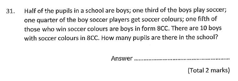Chigwell School - 11 Plus Maths Specimen Paper 2020 entry Question 31