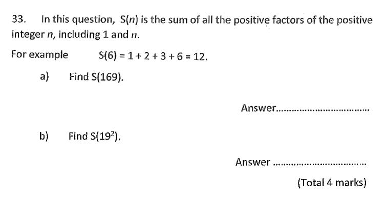 Chigwell School - 11 Plus Maths Specimen Paper 2020 entry Question 33