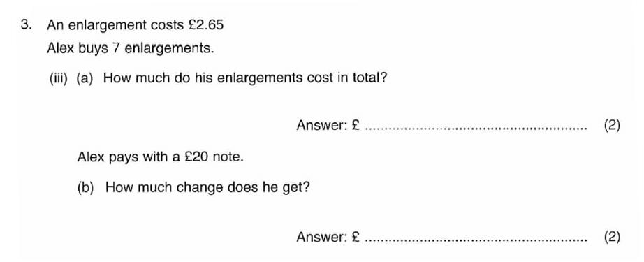 ISEB 11 Plus Maths 2008-09 Practice Paper Question 06