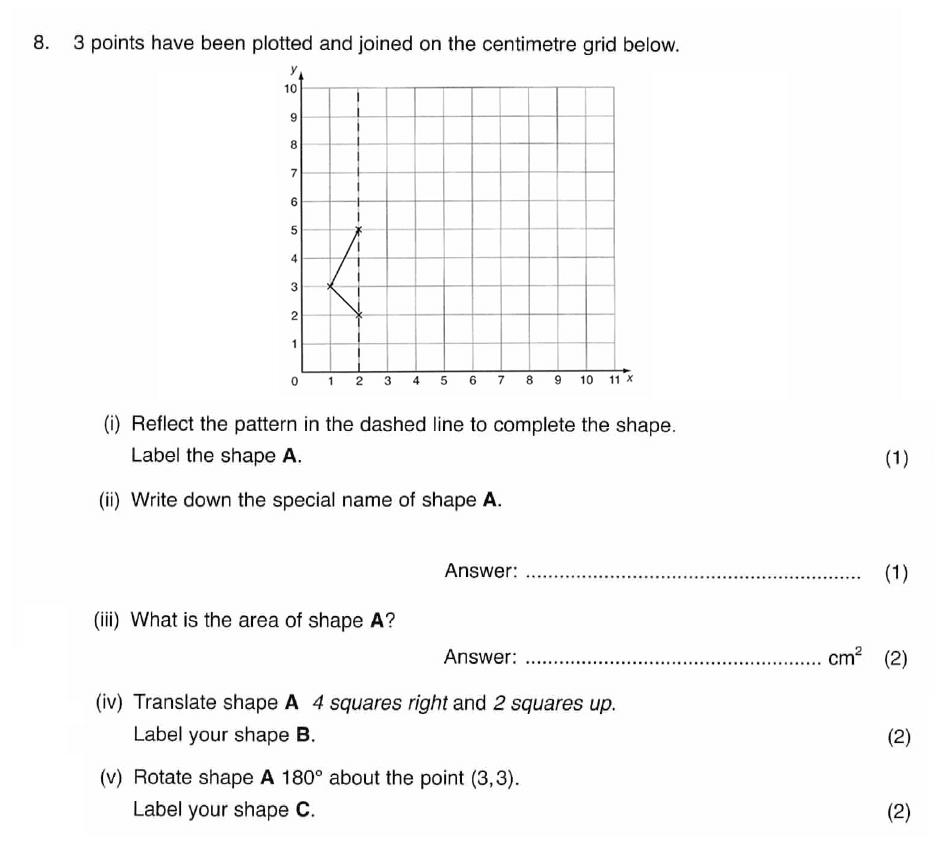 ISEB 11 Plus Maths 2008-09 Practice Paper Question 12