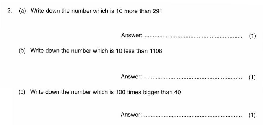 ISEB 11 Plus Maths 2008 Practice Paper Question 03