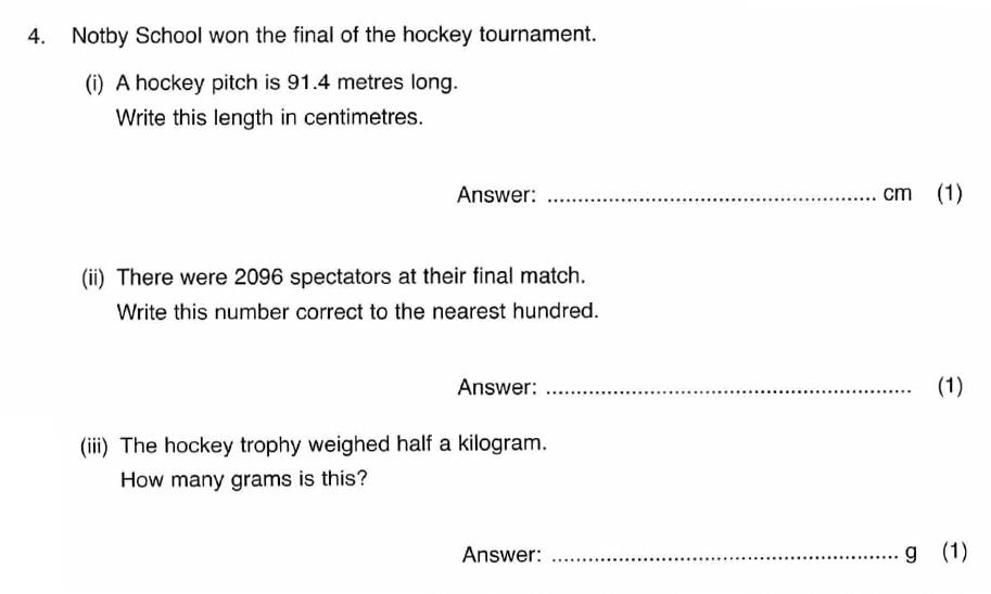 ISEB 11 Plus Maths 2008 Practice Paper Question 07