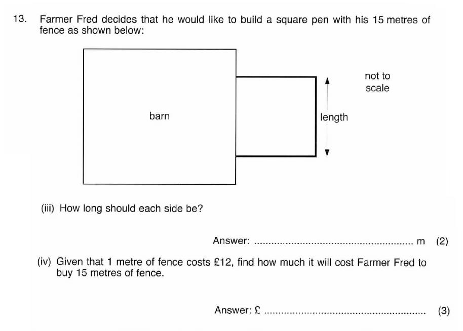 ISEB 11 Plus Maths 2008 Practice Paper Question 29