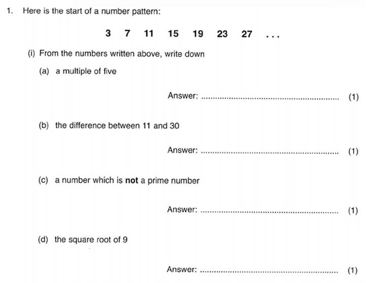 ISEB 11 Plus Maths 2009-10 Practice Paper Question 01