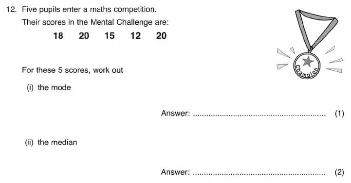 ISEB 11 Plus Maths 2009-10 Practice Paper Question 20